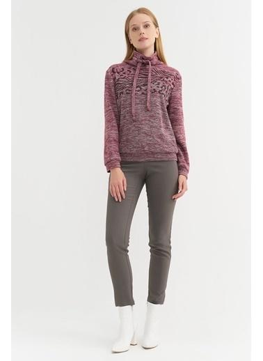 BGN Kiraz Rengi - Baskılı Sweatshirt Kırmızı
